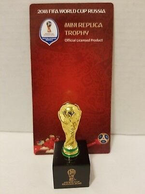 "World Cup Russia 2018 Trophy Replica Miniature 2"" 3/4"" Metal with Wood Base"