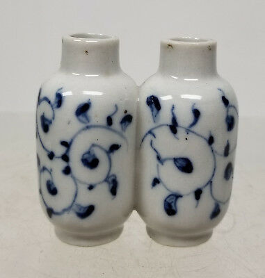 Antique Chinese Underglaze Blue and White Double Snuff BOttle Vase Floral