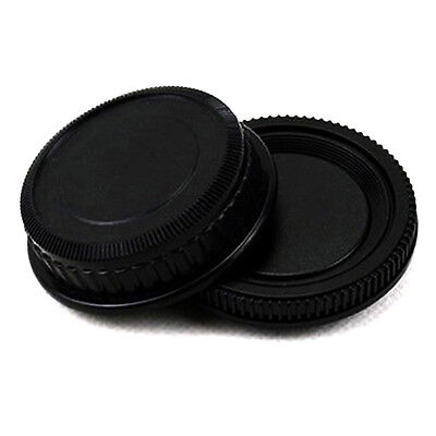 Rear Lens and Body cap or cover Protector for Pentax K PK camera black pla*`