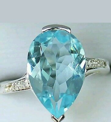 ART DECO 7.68 cts BLUE TOPAZ & WHITE TOPAZ RING 100% SOLID .925 size 7 1/2