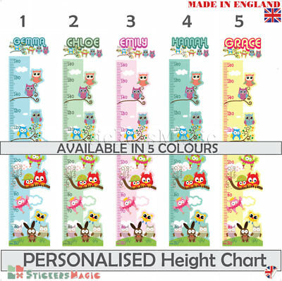 Personalised  Owl Height Chart Wall Sticker Kids Childrens Decal Nursery Bedroom