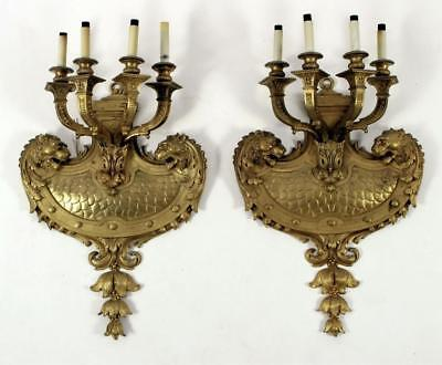 Incredible Massive Pair of Louis XIV Style Dore Bronze Sconces With Lions 1880