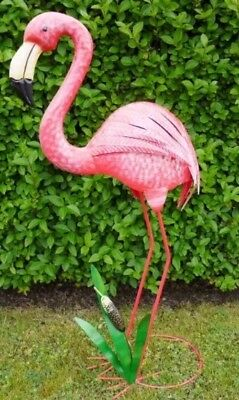 Vintage Pink Flamingo Metal Home Garden Statue Large Bird Shabby Chic Ornament