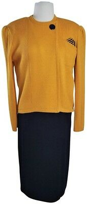 ST JOHN by Marie Gray Santana Knit Navy / Marigold Skirt Suit-Size 12