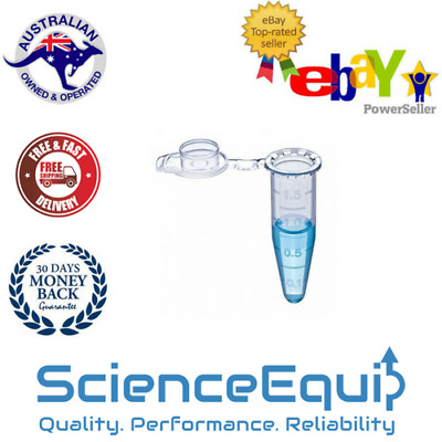 MICRO CENTRIFUGE TUBES SAMPLE VIAL CLEAR PLASTIC WITH CAP- 10 x 0.5ml
