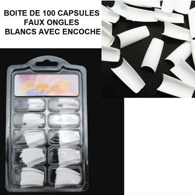 Boite 100 Capsules Tips Blanc Faux Ongle Encoche Gel Uv Vernis French Ong524