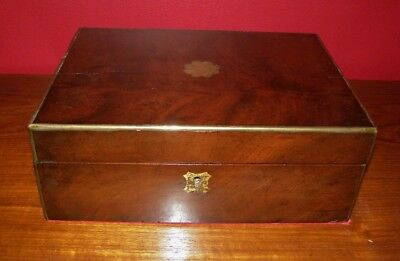 Antique Victorian Mahogany Lapdesk Writing Slope - Brass Banding & Inlay