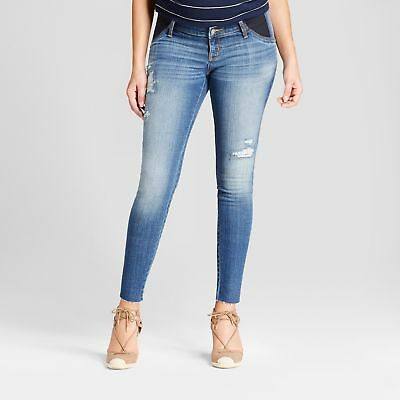 NEW! Isabel Maternity Inset Panel Distressed Medium Wash Jeggings Jeans