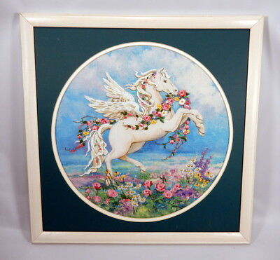 "Beautiful Pegasus with Flowers on Printed Canvas with Crewel Detail 19.5"" X 19.5"