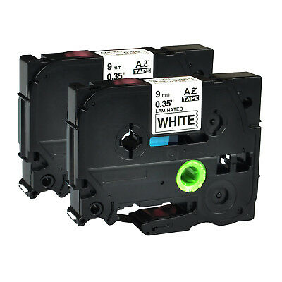"""20PK Black on White Label Tape for Brother TZS221 TzeS221 P-Touch 9mm 0.35/"""""""