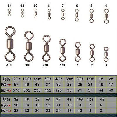 100Pcs Fishing Barrel Bearing Swivel Stainless Steel Solid Ring Connector Gadget