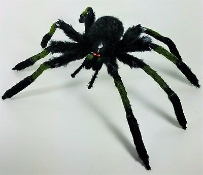 """Halloween Large Black Hairy Spider with Bendable Legs Plush Toy  Decor 17"""""""