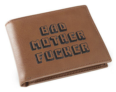 Brown Embroidered BMF (Bad Mother Fu**er) Leather Wallet As Seen in Pulp Fiction