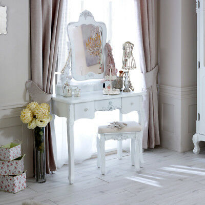 White dressing table tabletop vanity mirror stool set French bedroom furniture