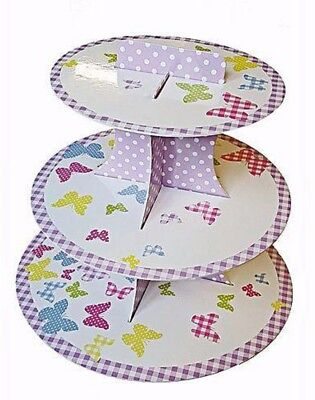 3 Tier Cupcake Stand Butterfly Design Display Tower Children Birthday Tea Party