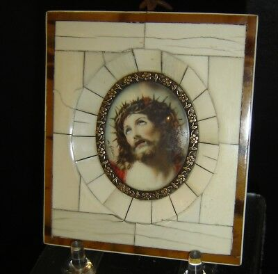Antique Miniature Painting Jesus Christ  Portrait As the Man Of Sorrows Signed.