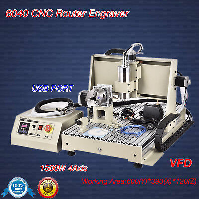 1500W USB 4Axis 6040 Engraver CNC Router Engraving wood metal Drill Mill Machine