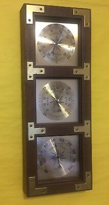 """Vintage Springfield wall mount weather station brass accents 20 1/2"""" tall"""
