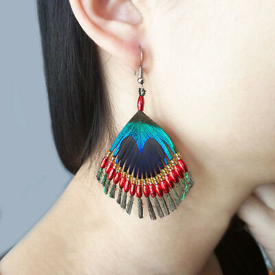 Aboriginal Vintage Earrings Silver Hook Red Green Peacock Feather Made by Hand