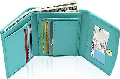 Leather Wallets For Women - Ladies Trifold Wallet With Coin Purse RFID Blocking