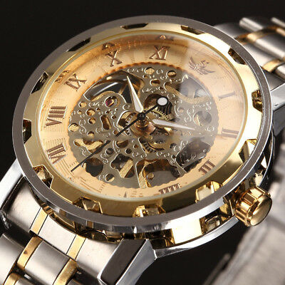 Men Classic Stainless Steel Mechanical Watch Transparent Steampunk SkeletonWatch