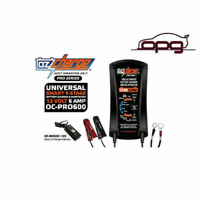 OzCharge ProSeries 12V 6amp Battery Charger Maintainer Trickle for Car Motorbike
