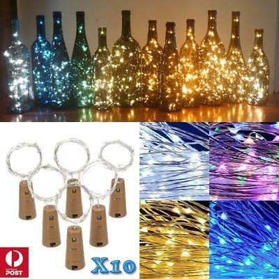 10x 2M 20LED Copper Wire Wine Bottle Cork Fairy String Lights Xmas Wedding Party