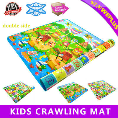 Kids Crawling Educational Game Play Mat 200X180CM Soft Foam Picnic Carpet 2 Side