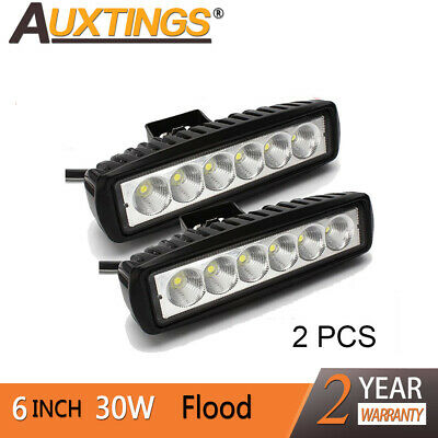 "2X 6"" inch 30W LED Light Bar Flood Work Lights 12V24V Offroad 4WD UTE Truck AU"