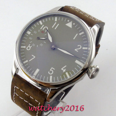 44mm PARNIS Grey Sterile Dial Steel Case 6497 Hand Winding movement men's Watch