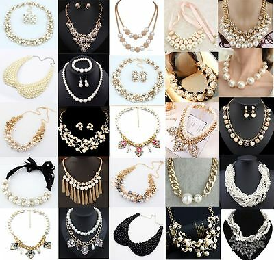 Fashion Women Crystal Pendant Chain Choker Chunky Statement Bib Necklace Pearl