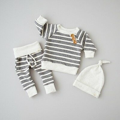 3Pcs Newborn Baby Long Sleeve Top T shirt+Pants+Hat Striped Outfits Hat Clothes