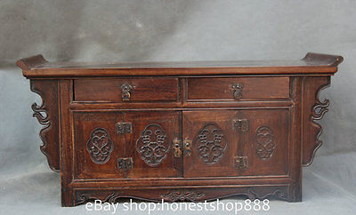 """11"""" Old Chinese Style Solid Wood Floral Carved /Entrance Console Cabinet / Table"""