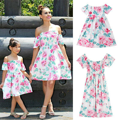 a6aed79cdb Family Dresses Mother Daughter Matching Summer Baby Girl Dress Clothes  Outfit