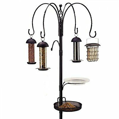 Garden Bird feeding Station Wild Birds 4 Feeders Peanut Seed Niger Suet Ball