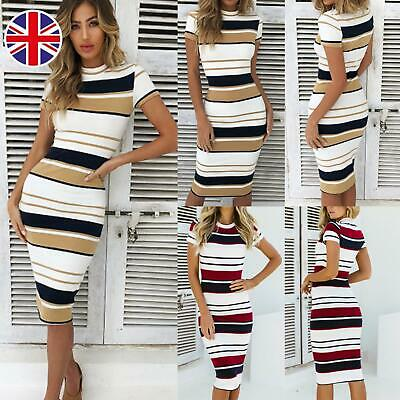 UK Women Striped Bodycon Pencil Dress Ladies Summer Casual Holiday Party Clothes