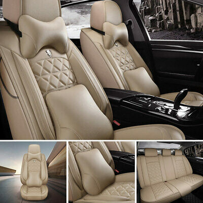 US PU Leather+Cooling Mesh Car Seat Cover Front+Rear 5 Seats Cushion W/Pillows