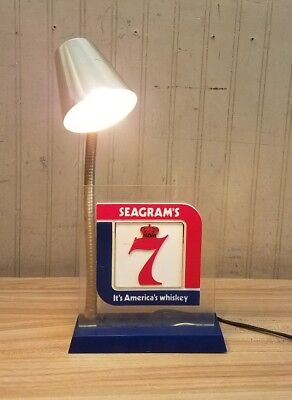 Vintage Seagram's 7 Whiskey Bar Sign with Light RARE Bar/Countertop  Display