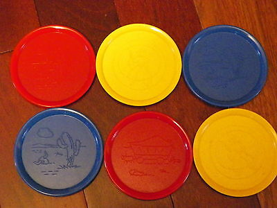 Six Vintage Retro  Plastic Western Coasters 2 Red,2 Yellow, 2 Blue Royal Product