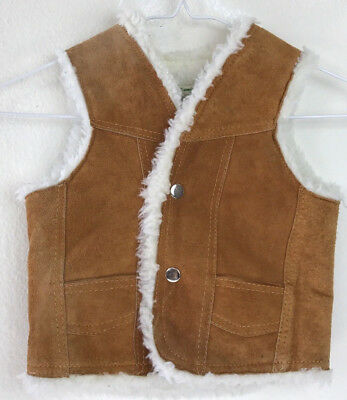 Vintage 70's Kids Leather Suede Faux Shearling Snap Down Vest