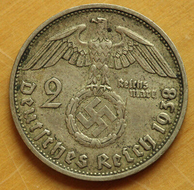 1938 D 2 mark German WWII Silver Coin Third Reich Reichsmark Hindenburg