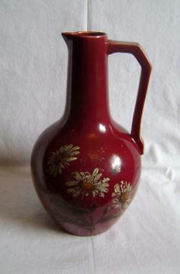Arts & Crafts Pottery Jug / Ewer : Sang de Boef Glazed, cold painted flowers