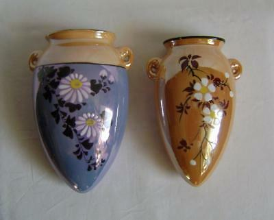 Two Vintage Japanese Porcelain Wall Pocket Vases: Mid C.20th