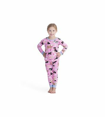 Hatley Girl's Organic Cotton Long Sleeve Printed Pyjama Sets Pink(cute Pups)
