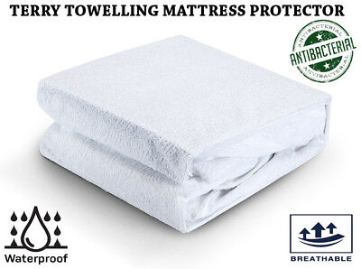Terry Towelling Mattress Protector Waterproof Deep Fitted Cover Nursery Bedding