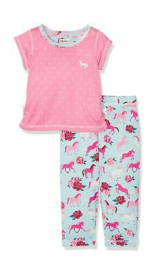 Hatley Girl's Polyester Short Sleeve Pyjama Sets Pink (Ponies/Peonies) 3 Years