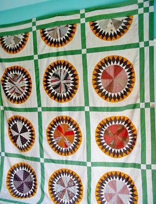 Antique Vintage Quilt TOP 92 by 82 inches Civil War Mariner's Compass To Restore