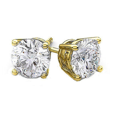18k Gold Plated CZ Stud Silver Iced Out Round Clear CZ Stud Earrings