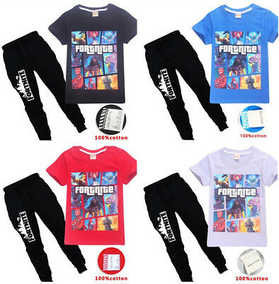 New Kids Boys Fortnite Short Sleeve T-Shirts Tops+Pants A Suits 6-14 Years ##E