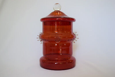 """Vintage Art Glass Red Optic 8.5"""" Candy Dish w/ Circus Tent Lid Apothecary Jar"""